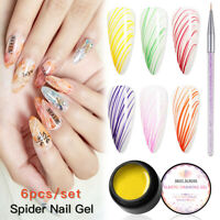 MEET ACROSS 7Pcs/Set Nail Spider Gel Creative Wire Line Painting Polish Nail Art