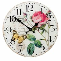 Clayre&Eef  Wanduhr Uhr Glas Deko  Landhaus Vintage Shabby Rose Shabby Chic