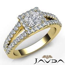 Princess Diamond Engagement Halo Prong Set Ring GIA F VS2 18k Yellow Gold 1.25Ct