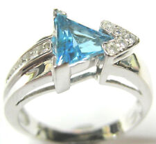 GENUINE BLUE TOPAZ RING WITH DIAMONDS IN 14K WHITE GOLD