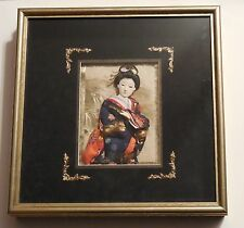 Japanese Geisha Girl Doll Kimono Glass Eyes 3D Art in Frame Black Velvet Signed