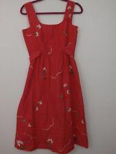 Malia Honolulu Vintage Dress SZ 12 Sundress Daisy Rain Cloud 70s 80s Red Hawaii