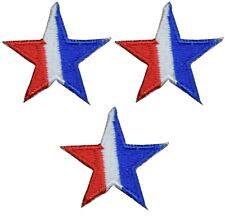 "Star Applique Patch - Red, White, Blue 1.25"" (3-Pack, Iron on)"