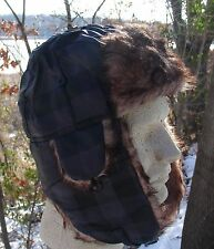 Black Plaid Fur Trapper Hat Bomber Winter Cap Aviator Trooper Adjustable Strap