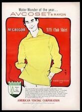 1955 Rene Gruau man in yellow McGregor shirt art American Viscose print ad