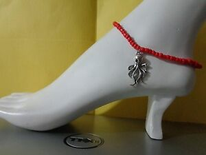 OCTOPUS alloy charm ankle bracelet beads anklet stretchy silver beach sea
