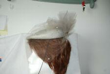 Ladies Hat Womens Vintage Pill Box Gray Star Veiled Netting