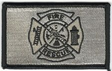 """Coyote Brown Tan Black 2"""" x 3 1/8"""" Firefighter Fire Rescue Maltese Cross Patch"""