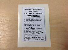 Yamaha DT125 DT175 DT250 DT400 Arrière Choc avertissement Decal Autocollant