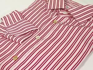 Kiton Red/Pink Double Stripe Cotton Point Collar Dress Shirt, 17 US / 43 EU