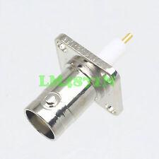 Connector BNC female jack 4-holes 17.5mm flange O-Ring solder PTFE panel mount