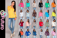 Women's Casual Top Scoop Neck Stretch T-Shirt Long Sleeve Jumper Size 8-12 2049
