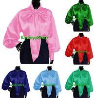KanaiyaStore Vintage style Women Satin long sleeve Bow Blouse High Neck Shirt