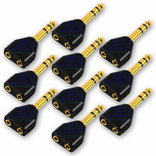 "10X Gold 2-way Headphone Audio Splitter 1/4"" 6.35mm to 3.5mm Stereo Jack LOT"