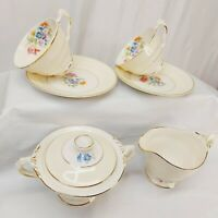 Creamer sugar & 2 tea cup sets Crown Potteries Co Made In USA  Floral gold gild