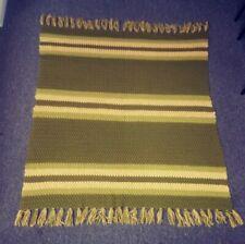 "Vintage Heavy Handmade Afghan Throw Green Multi Shade Crochet Lap Blanket 56x55"""