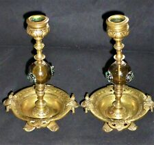Stunning Pair of Antique Aesthetic Movement Brass & Glass Candlesticks