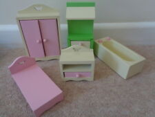 wooden dolls house furniture assortment bundle pink cream