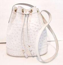 Authentic Vintage GUCCI OSTRICH Drawstring Bucket Shoulder Bag Handbag Purse