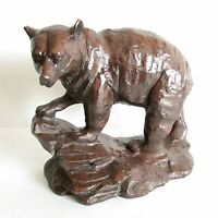 """Vintage Carved Red Mill Bear Figure Crushed Pecans Resin 5.75x5.25"""" tall FREE SH"""