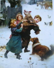 Children with Pig and dog  in snow by Arthur John Elsley vintage art