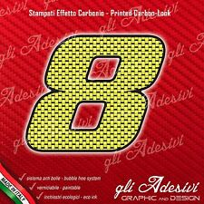 Adesivo Stickers NUMERO 8 moto auto cross gara Carbon Effect Yellow 10 cm