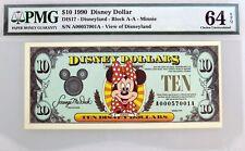 1990 $10 Disney Dollar Disneyland Minnie Mouse Fr#DIS17 PMG Choice UNC 64 EPQ