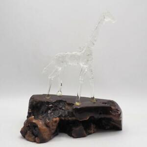 Vintage Glass Crystal Giraffe on Wood Burl Statue Figurine