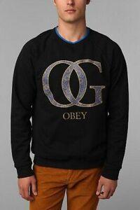OBEY Paisley OG Crow Long Sleeve Sweatshirt Black Size L