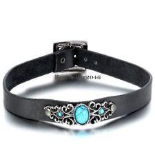 Herren Damen Halsband Halskette Retro Luxus künstliche Türkis Lederhalsband