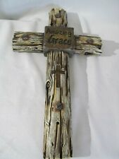 Large Amazing Grace Cross Christian home Crucifix Wall Composite Log Decor