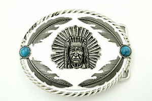 Native American Indian Chief w/ Feathers Enamel Western Metal Belt Buckle
