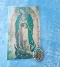 "Our Lady of Guadalupe Double Sided Epoxy Medal 1"" Oxidized Silver with card"