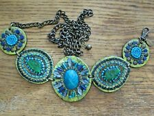 CHICO'S Bronze Tone Metal Leather Blue Green Seed Beaded Adjustable 50