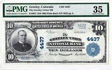 $10 1902 PB National GREELEY UNION Colorado CO CH# 4437 PMG 35 Choice Very Fine