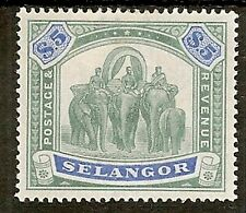 MALAYA STATES SELANGOR 1895 $5 SG64 EXCEPTIONALLY FRESH