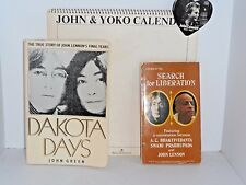 John and Yoko 1970 calendar paste your own cover  heart shaped Lennon pin 2 bks
