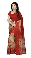 NEW INDIA saree SARI FAUX GEORGETTE RED TAN FLORAL Unstitched Blouse USA SELLER