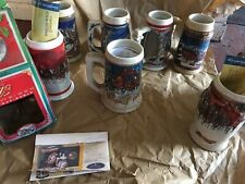 Budweiser Holiday Beer Stein Collection Years 1998-2000-2001-2003-2004- 2005-2006