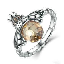 Exquisite Silver Orange Wing Animal Bee Finger Ring for Women Jewelry Size 8
