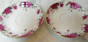 Hankook Fine Bone China 2 Tea Coffee Saucers Red Pink Roses Gold Trim