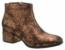 Vagabond DAISY Wos Boots EU40 US10 Metallic Bronze Floral Leather Zip Heel Ankle