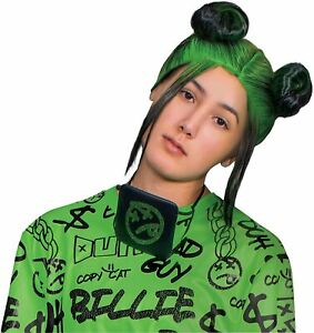 Billie Eilish Black & Green Wig Fancy Dress Up Halloween Adult Costume Accessory