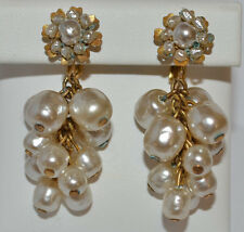 Classic MIRIAM HASKELL Dangle Cluster Baroque Pearl EARRINGS Circa 1950s Clip-on