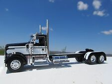 DCP 1/64 SCALE W900 KENWORTH DAY CAB BLACK WITH WHITE STRIPE W CUSTOM DECK PLATE