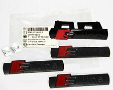 4Pcs original OEM Sline Emblems Badges Decal+Grille For AUDI A4-8 Q3-5 7 BLK YK