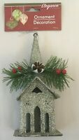 Christmas Tree Church Ornament Silver Glitter 6x3in Xmas Tree Hanging Decoration