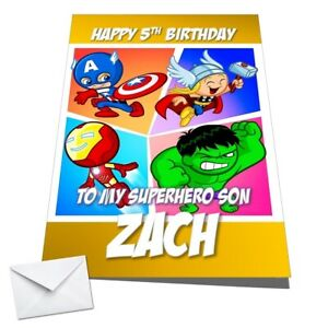 Personalised Kids Avengers Birthday Card Hulk Thor Ironman Any NAME/AGE/RELATION