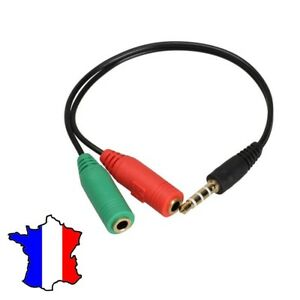 câble Adaptateur audio jack 3.5 mm mâle vers 2 femelle CASQUE MICRO SMARTPHONE
