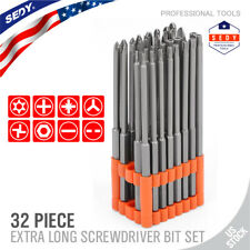 32pc Extra Long Security Bit Set Tamper Proof Torx Star Tri Wing Pozi w Holder